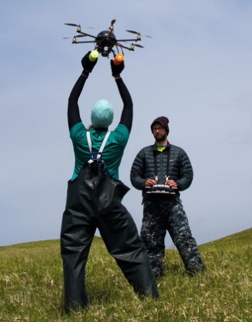 Van Helker piloting the hexacopter